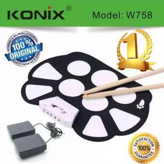 Konix W758 กลองไฟฟ้าพับได้ Roll Up Electric Drum Kit + Drum Stick + Sustain Peddal