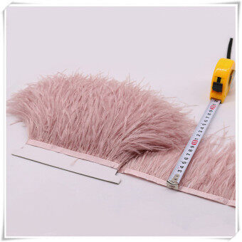 10-15cm ขนนกกระจอกเทศแสงสีชมพูเสื้อผ้า selvedge