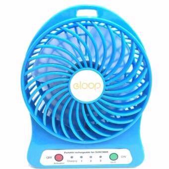 eloop Mini fan พัดลมพกพาขนาดเล็ก ชาร์จสายUSB ใส่ถ่าน ลมแรง - สีฟ้า