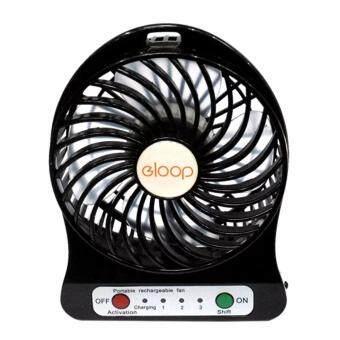 ราคา eloop Mini fan พัดลมพกพาขนาดเล็ก ชาร์จสายUSB ใส่ถ่าน ลมแรง (สีดำ)