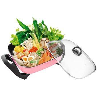ราคา GetZhop หม้อสุกี้ หม้อชาบูไฟฟ้า อเนกประสงค์ Jingqiao บรรจุ 5 ลิตร ขนาด 34 CM รุ่น JQ2080 - (Pink)