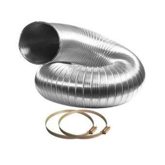 GFLOWเฟล็กซ์อลูมิเนียม ท่อ 6 นิ้ว ความยาวยืด 2 เมตร ท่อลมระบายอากาศ (ขนาดหดตัว80 ซม.) + เข็มขัดรัดท่อเบอร์ 7 จำนวน 2 อัน