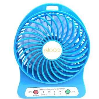 eloop Mini fan พัดลมพกพาขนาดเล็ก ชาร์จสายUSB ใส่ถ่าน ลมแรง (สีฟ้า)=
