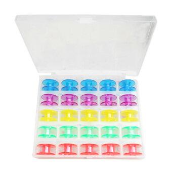 25ชิ้นพลาสติกม้วนด้ายสีเดียวชุดจักรที่มีกล่องเก็บเคสสำหรับบ้านเย็บผ้า