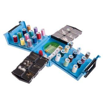Replica Shop Sewing Box กล่องอุปกรณ์เย็บผ้าอเนกประสงค์ - สีฟ้า + จักรเย็บผ้ามือถือ Spring Come Mini - สีขาว
