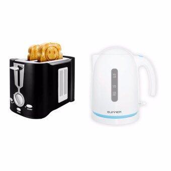 SUMMER Smiley Toaster เครื่องปิ้งขนมปังหน้าอมยิ้ม-สีดำ/ กาต้มน้ำไฟฟ้า ขนาด 1.2 ลิตร สีฟ้า