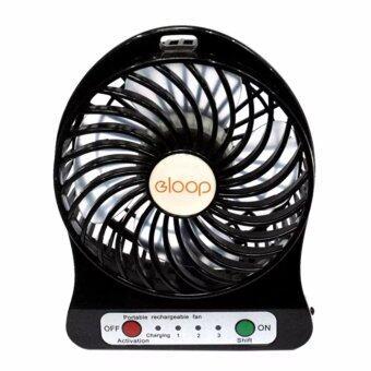 eloop Mini fan พัดลมพกพาขนาดเล็ก ชาร์จสายUSB ใส่ถ่าน ลมแรง (สีดำ)