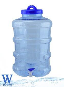 Wpower ถังน้ำดื่ม ขนาด 20ลิตร กลมใส พร้อมก๊อก สีน้ำเงินใส