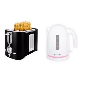 SUMMER Smiley Toaster เครื่องปิ้งขนมปังหน้าอมยิ้ม-สีดำ/ กาต้มน้ำไฟฟ้า ขนาด 1.2 ลิตร สีชมพู