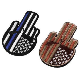 ปักธงสหรัฐอเมริกาบริเวณป้ายสติกเกอร์ขวัญตำรวจฝีมือปลอกแขนสีน้ำเงิน & ขาว