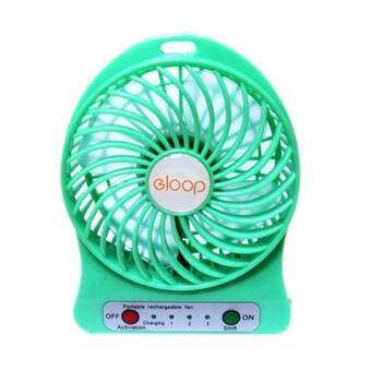 eloop Mini fan พัดลมพกพาขนาดเล็ก ชาร์จสายUSB ใส่ถ่าน ลมแรง (สีเขียว).