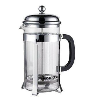 เฟรนช์เพรส Homdox กาแฟชา และชงกาแฟด้วยแก้วทนความร้อน และปั๊มสแตนเลส (เงิน)