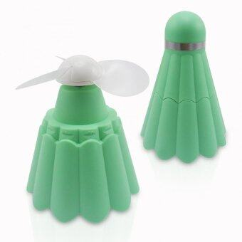 DT พัดลมพกพา ทรงลูกแบตมินตัน (สีเขียว)