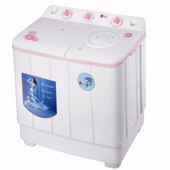 Aigo เครื่องซักผ้า 2 ถัง ขนาด 8 kg. (สีชมพู)