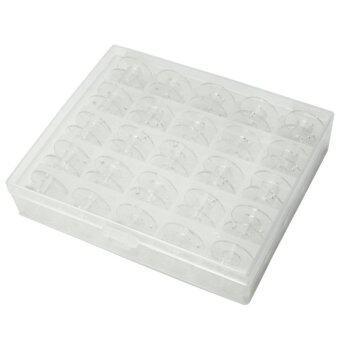 กล่อง 25 สีไม่มีจักรพันพลาสติก Bobbins เก็บคดีขาว