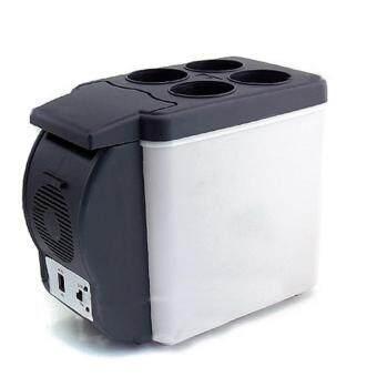 DJSHOP Home&Car ตู้เย็นขนาดเล็ก ตู้เย็นพกพา 6 ลิตร ใช้ได้ทั้งไฟบ้านและไฟรถ (สีดำ)
