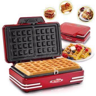 Letshop เครื่องทำวาฟเฟิล ทรงสี่เหลี่ยม Nostalgia Waffle Maker 2ชิ้น รุ่น NT005 - (Red)