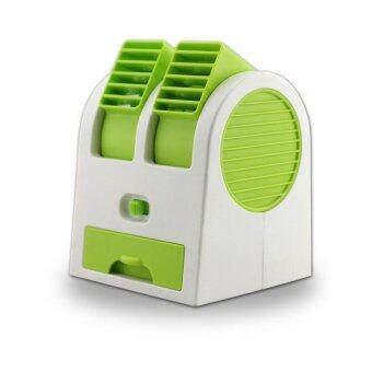ซื้อ/ขาย Lotte Mini Air Fan 2in1 พัดลมไอน้ำ ชนิดตั้งโต๊ะ/ พกพา รุ่นสองใบพัด พร้อมไอเย็น (Green)