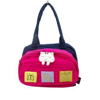 Lucky Cat กระเป๋าถือแมวโชคดีงานทำมือ AL889 สีชมพู/ดำ