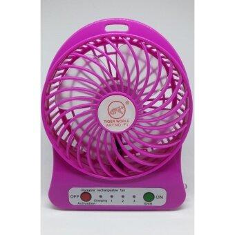 Mini fan พัดลมพกพาขนาดเล็ก ชาร์จสายUSB ใส่ถ่าน ลมแรง - สีชมพู