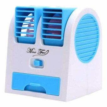Mini USB Air Conditioning พัดลมแอร์ปรับอากาศแบบตั้งโต๊ะ - Light Blue
