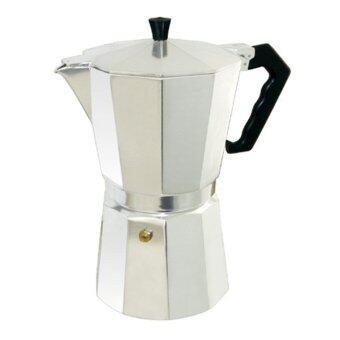 moka pot กาต้มกาแฟสดเครื่องชงกาแฟสดขนาดพกพา 9 cup Moka pot (Silver)