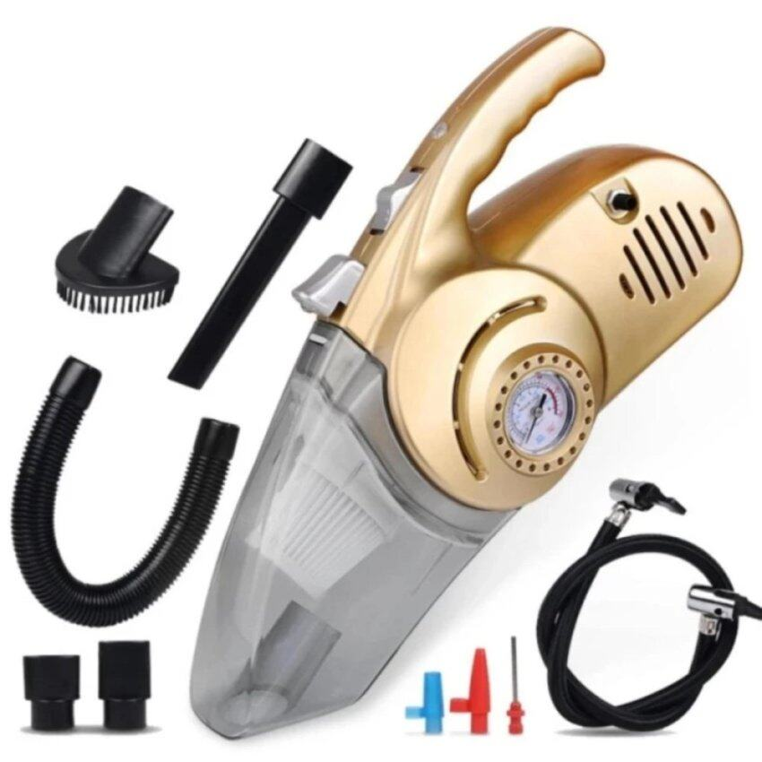 New Car Vacuum Cleaner 4 In 1 12V 100W Protable Multi-function Auto Air Pump Tire Tyre Air Pressure Tester With Lighting (Gold)