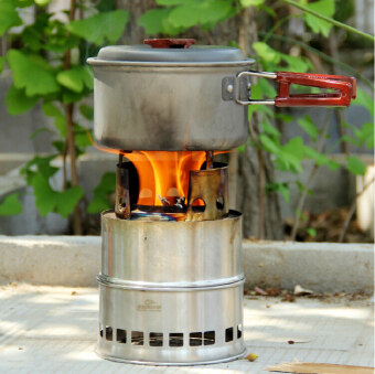 Outdoor Wood Coal Burning Stove Backpacking Portable SurvivalCamping Stove - 3