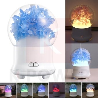 Preserved Fresh Flower Aroma Essential Oil Diffuser Ultrasonic Air Humidifier with 7Color LED Lights Electric Aroma เครื่องชิมอโรม่า ใส่น้ำมันหอมระเหย เครื่องพ่นไอน้ำ เพิ่มความชื่นในอากาศ
