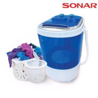 เครื่องซักผ้ามินิแบบเปิดฝาด้านบน ปั่นแห้งในตัว 2in1 โมเดล EW-A160 Sonar - สีฟ้า