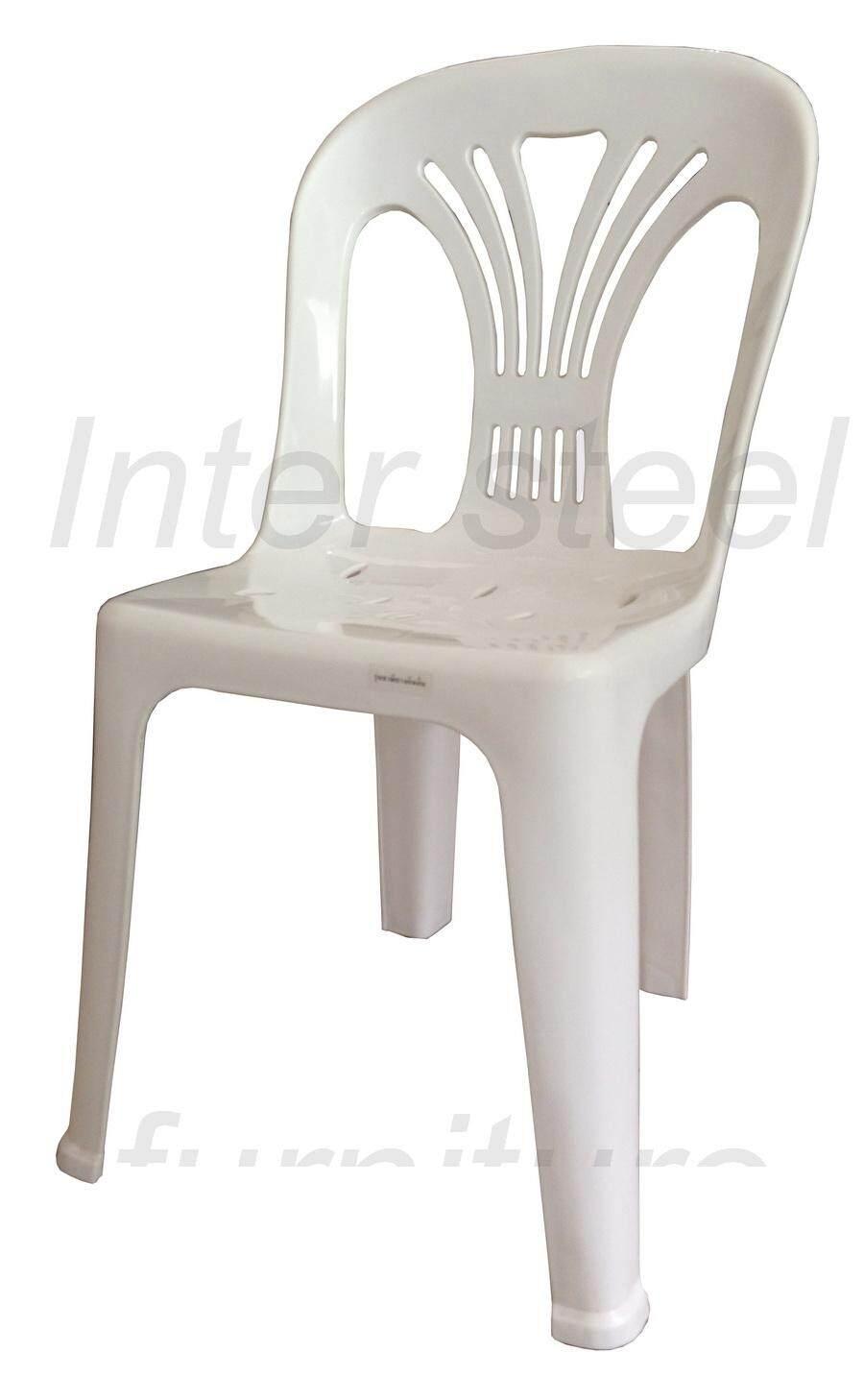 เช่าเก้าอี้ เชียงใหม่ Inter Steel เก้าอี้พลาสติก เกรดA มีพนักพิง รุ่นหลังW (สีขาว) Grade A plastic chair