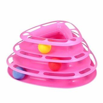 ต้องการขายด่วน ของเล่นแมว รางบอล 3 เหลี่ยม 3 ชั้นสีชมพู