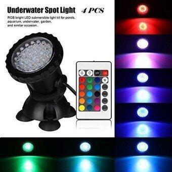Aquarium Led Lighting 1 Set 4 Lights RGB 36 Leds 6W Fish Tank Underwater Spot Light with 24 Key IR Remote Control EU/UK/US Plug - intl