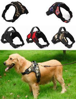 Big Dog Soft Harness Adjustable Pet Dog Big Exit Harness VestCollar Strap for Small and Large Dogs Pitbulls - Camouflage flag(M)