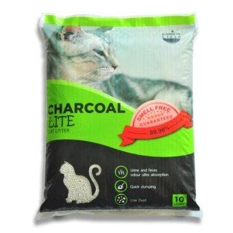 Charcoal Sand 10 Litres x 2 units ทรายแมวจากถ่านกัมมันต์และเบนโทไนท์ สูตรไลท์ ฝุ่นน้อย 89.98% 10 ลิตร จำนวน 2 ถุง
