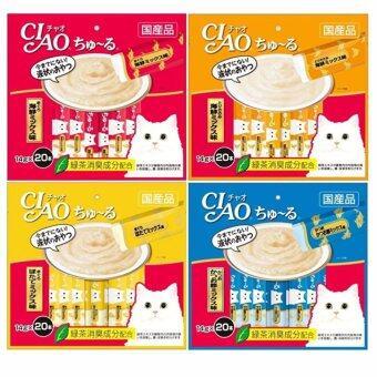 CIAO Chu-ru (4 แพ็ค) ขนมแมวเลีย คละ 4 รส 14 กรัม x 20 ซอง