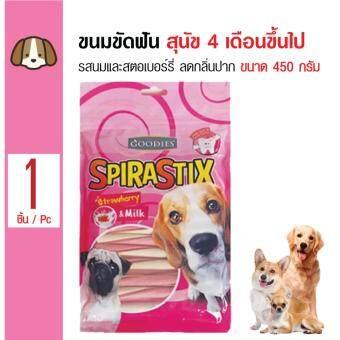 Goodies ขนมขัดฟันสุนัข รสนมและสตอร์เบอร์รี่ ลดกลิ่นปาก หินปูนสำหรับสุนัขทุกสายพันธุ์ ขนาด 450 กรัม