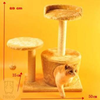 Hippo คอนโดแมว (รุ่นRound Barrel) ขนาดกลาง วัสดุคุณภาพ เบาะนอนนุ่มและที่ลับเล็บน้องแมว - สีครีม
