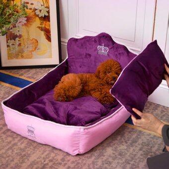 Hippo ที่นอนน้องหมา เตียงนุ่มแนวยุโรป เบาะนุ่ม วัสดุเย็บพรีเมียม Size S ขนาด 36x53x36cm - สีม่วง