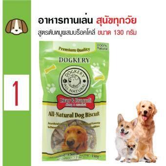 Dogkery ขนมสุนัข อาหารว่างสุนัข สูตรตับหมูผสมบร็อคโคลี่ สำหรับสุนัขทุกวัย ทุกสายพันธุ์ ขนาด 130 กรัม