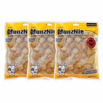 MUNZNIE ขนมขบเคี้ยวสำหรับสุนัข กระดูกผูก 2.5 นิ้ว สีธรรมชาติ บรรจุ 12 ชิ้น (x3 packs)