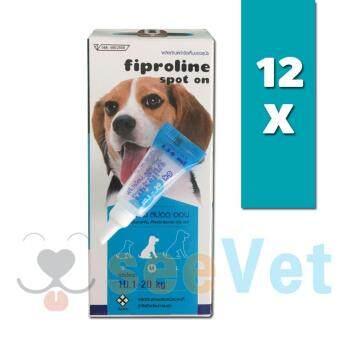 Fiproline Spot Onยาหยดหลังป้องกันและกำจัดเห็บหมัดสำหรับสุนัข น้ำหนัก10-20กก. 12หลอด