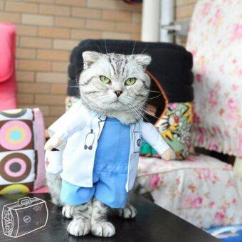 Pet Dog Cat Doctor Costume เสื้อผ้าสุนัขและแมว ชุดคุณหมอ (Size L)