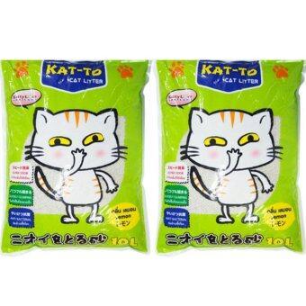 KAT-TO Cat Litter 10 Litres x 2 (Lemon) แคทโตะ ทรายแมว กลิ่นมะนาว ขนาด 10 ลิตร จำนวน 2 ถุง