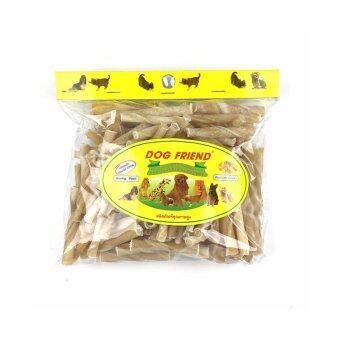 Dog Friend ขนมขบเคี้ยวสุนัข สติ๊กเกลียวแท่งสั้น สีธรรมชาติ 420 กรัม (3 ซอง)