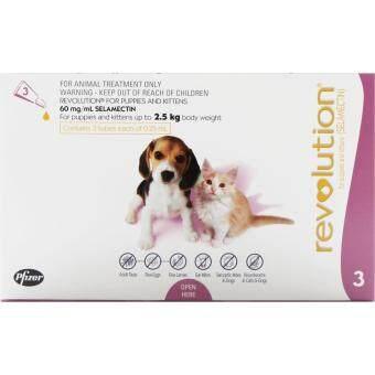 Revolution For Puppies & Kittens 15mg.- เรโวลูชั่น ยาหยดกำจัดเห็บหมัด ไร สำหรับลูกสุนัข-ลูกแมว น้ำหนักไม่เกิน 2.5 กก. (สีชมพู)