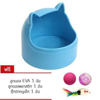ชามอาหารแมว ติดข้างกรง ถ้วยใส่น้ำ ทรงหน้าแมวมีหู ( สีฟ้า )