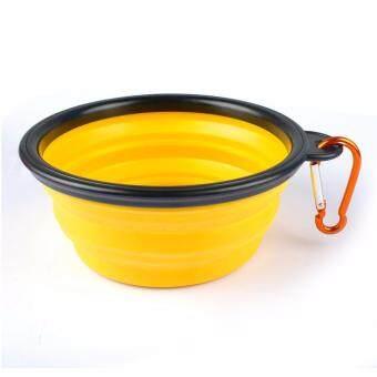 ชามใส่อาหารและน้ำแบบพกพา ชามซิลิโคนพกพา พับเก็บได้ สำหรับสุนัขและแมว (สีเหลือง) แถมฟรี! ที่ห้อยพวงกุญแจ ตะขอห้อย(มูลค่า50บาท)