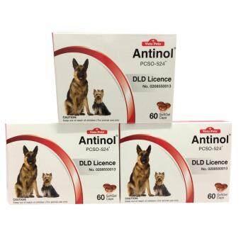 Vetz Petz Antinol 60 Softgel capsules อาหารเสริมสกัดจากธรรมชาติ 100 % สำหรับสุนัขและแมว x 3 กล่อง