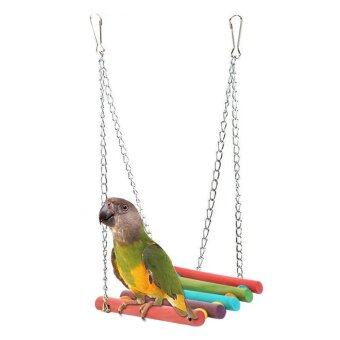 Harga Wooden Bird Swings Toys Bird Swings Stand Hanging For Parakeets,Multicolor - intl